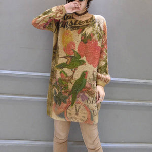 baggy loose bird print woolen blended sweater tops elastic plus size casual women knit pullover