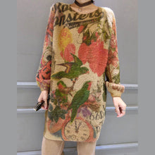 Load image into Gallery viewer, baggy loose bird print woolen blended sweater tops elastic plus size casual women knit pullover