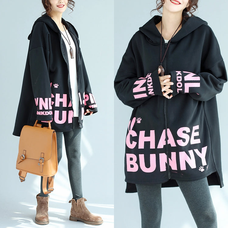 baggy loose black cotton hooded coats winter casual oversize prints outwear