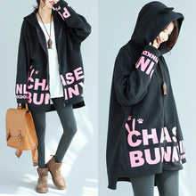 Load image into Gallery viewer, baggy loose black cotton hooded coats winter casual oversize prints outwear
