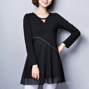 baggy loose black patchwork chiffon dresses plus size long sleeve casual dress