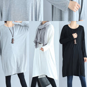baggy loose gray casual cotton dresses o neck cozy autumn traveling dress