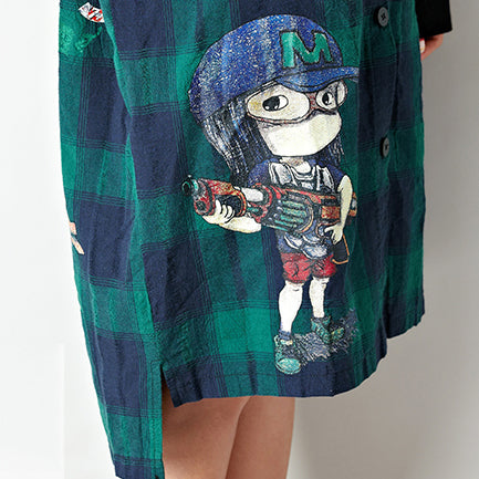 baggy loose grid cotton cardigan oversize low high hooded coats cartoon prints