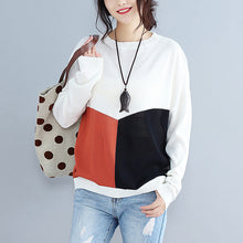 Load image into Gallery viewer, baggy loose patchwork autumn woolen knit tops plus size long sleeve sweater pullover