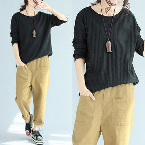 Baggy Loose Winter Wollschwarz Pullover Slim Fit Langarm Strickpullover