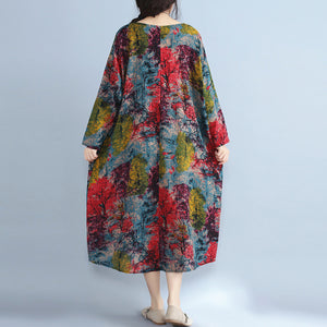 baggy multi color natural linen dress plus size prints gown Fine o neck caftans