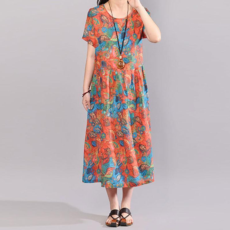 baggy natural cotton dress Loose fitting Short Sleeve Printed Summer Round Neck Dress