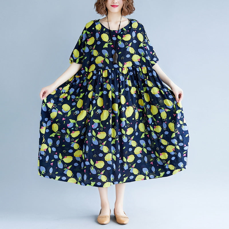 baggy navy print long cotton linen dresses plus size short sleeve print baggy dresses long Fine v neck linen cotton dress
