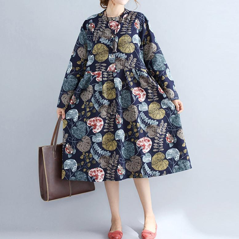 baggy navy prints linen knee dress plus size 2018 long sleeve patchwork cotton clothing