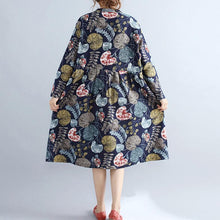 Afbeelding in Gallery-weergave laden, baggy navy prints linen knee dress plus size 2018 long sleeve patchwork cotton clothing