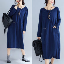 Load image into Gallery viewer, baggy new navy fashion casual knit dresses loose long sleeve pockets sweater dress