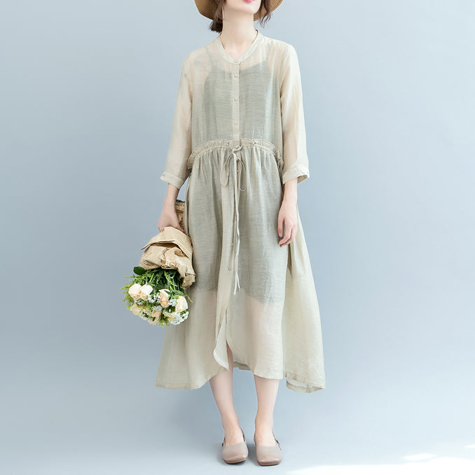 baggy off white Midi linen silk blended dresses Loose fitting casual dress fine tie waist long sleeve o neck baggy dresses