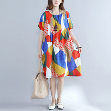 Afbeelding in Gallery-weergave laden, baggy orange patchwork cotton shift dress oversized cotton clothing dresses New o neck short sleeve natural cotton dress