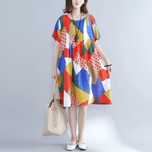 baggy orange patchwork cotton shift dress oversized cotton clothing dresses New o neck short sleeve natural cotton dress