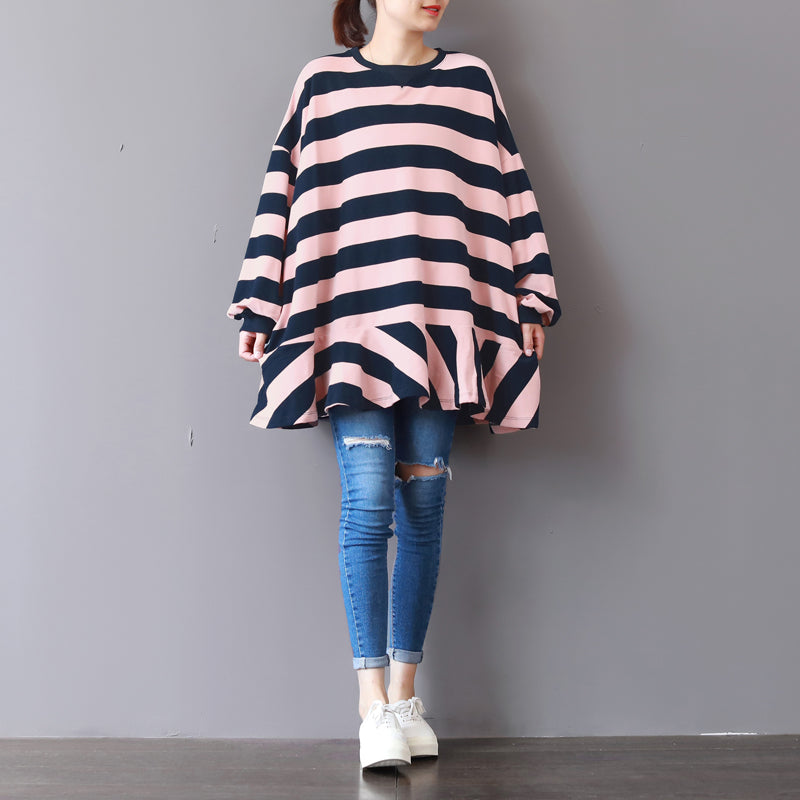 baggy pink striped cotton waistcoat plus size clothing traveling clothing top quality patchwork o neck cotton blouses