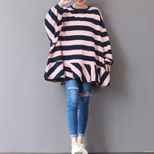 Load image into Gallery viewer, baggy pink striped cotton waistcoat plus size clothing traveling clothing fine patchwork o neck cotton blouses