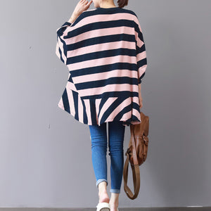 baggy pink striped cotton waistcoat plus size clothing traveling clothing fine patchwork o neck cotton blouses
