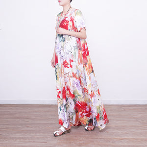 baggy prints long linen dresses casual oversized o neck linen gown boutique Chinese Button long dresses