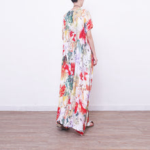 Load image into Gallery viewer, baggy prints long linen dresses casual oversized o neck linen gown boutique Chinese Button long dresses