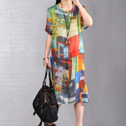 baggy pure linen dresses Loose fitting Printed Single Breasted Short Sleeve Flax Dress