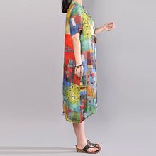 Load image into Gallery viewer, baggy pure linen dresses Loose fitting Printed Single Breasted Short Sleeve Flax Dress