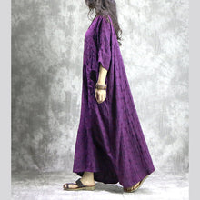 Load image into Gallery viewer, baggy purple linen dresses casual v neck baggy gown boutique pockets Jacquard autumn dress