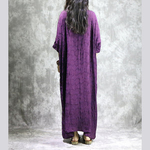 baggy purple linen dresses casual v neck baggy gown boutique pockets Jacquard autumn dress