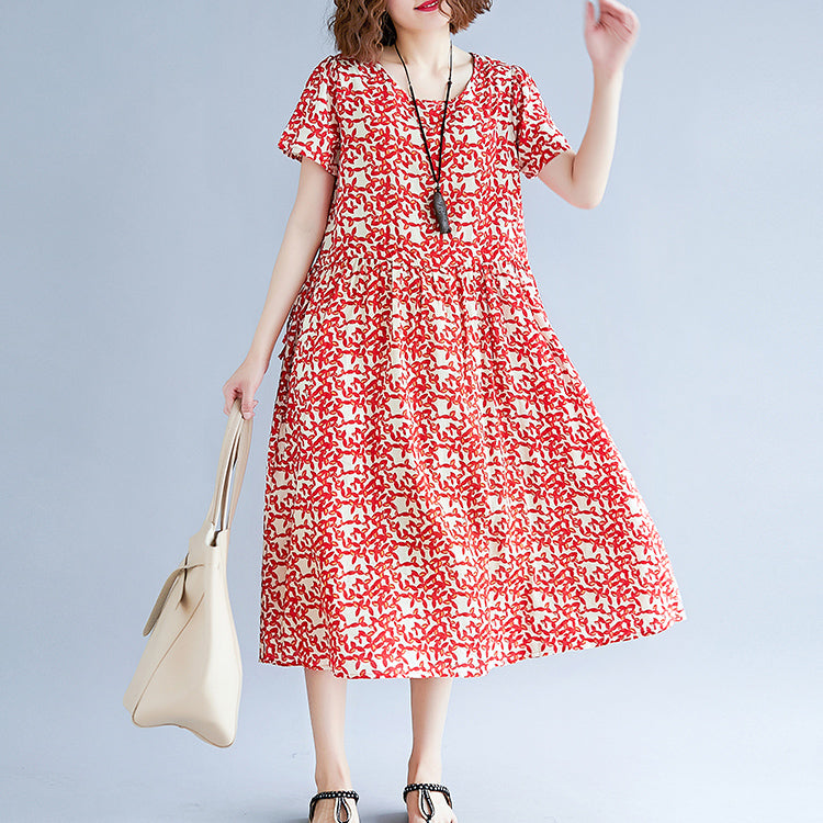 baggy red cotton linen dresses Loose