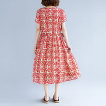 Load image into Gallery viewer, baggy red cotton linen dresses Loose fitting short sleeve print baggy dresses maxi dress 2018 o neck traveling dress