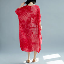 Load image into Gallery viewer, baggy red linen dresses oversize O neck floral linen gown Elegant short sleeve baggy dresses linen caftans