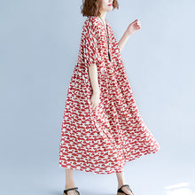 baggy red long cotton linen dresses trendy plus size short sleeve baggy dresses top quality o neck caftans