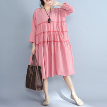 Load image into Gallery viewer, baggy red plaid pure linen dresses plus size casual patchwork o neck midi dress