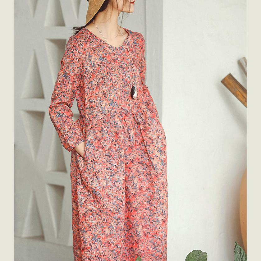 baggy red print linen dress plus size clothing holiday dresses vintage long sleeve baggy dresses O neck midi dress