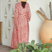 Load image into Gallery viewer, baggy red print linen dress plus size clothing holiday dresses vintage long sleeve baggy dresses O neck midi dress