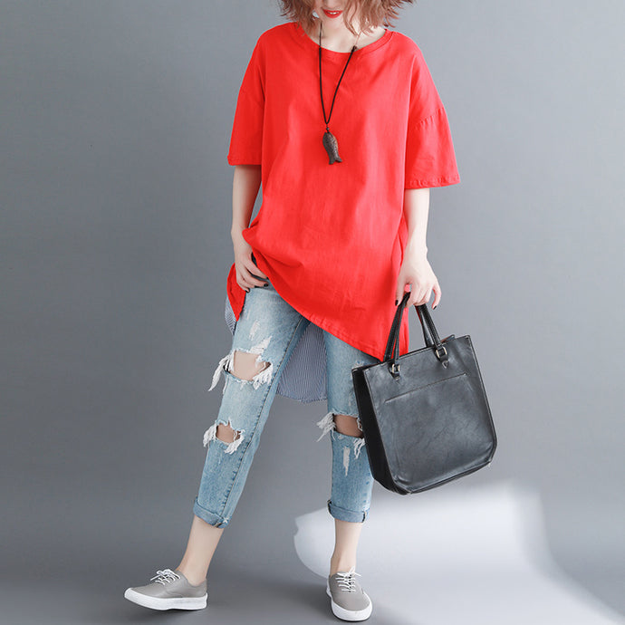 baggy red pure linen cotton blouse casual shirts boutique o neck striped Batwing Sleeve cotton clothing