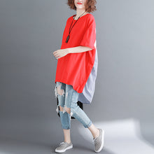 Load image into Gallery viewer, baggy red pure linen cotton blouse casual shirts boutique o neck striped Batwing Sleeve cotton clothing