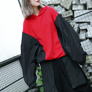baggy red tops plus size hooded patchwork cotton blended clothing blouses fine Batwing Sleeve tops