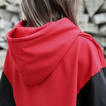 Load image into Gallery viewer, baggy red tops plus size hooded patchwork cotton blended clothing blouses fine Batwing Sleeve tops