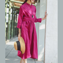 Load image into Gallery viewer, baggy rose cotton linen dress casual Stand cotton linen clothing dress New Three Quarter sleeve baggy dresses