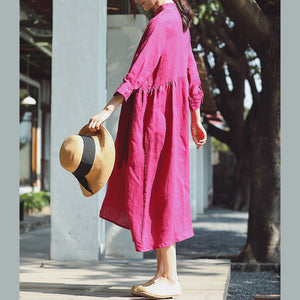 baggy rose cotton linen dress casual Stand cotton linen clothing dress New Three Quarter sleeve baggy dresses