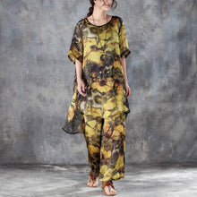 Load image into Gallery viewer, baggy silk summer dress oversized Yellow Two Pieces Set Printed Irregular Top Wide Leg Pants