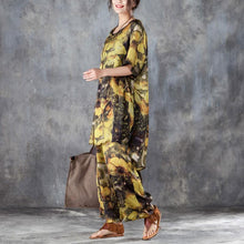 Afbeelding in Gallery-weergave laden, baggy silk summer dress oversized Yellow Two Pieces Set Printed Irregular Top Wide Leg Pants