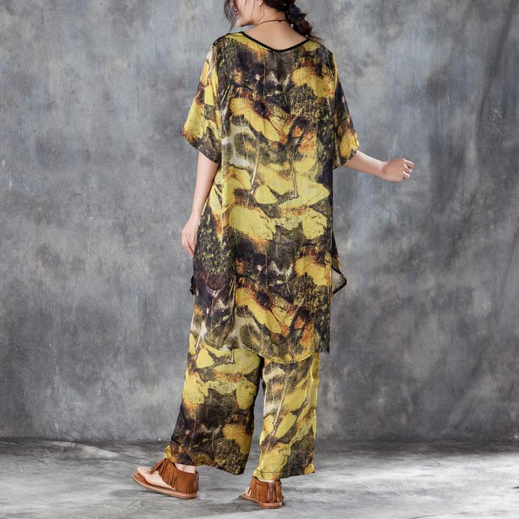 baggy silk summer dress oversized Yellow Two Pieces Set Printed Irregular Top Wide Leg Pants