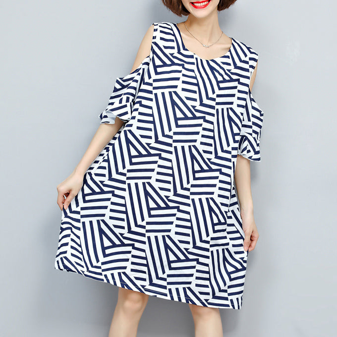 baggy striped women dress trendy plus size traveling clothing 2018 o neck patchwork dress