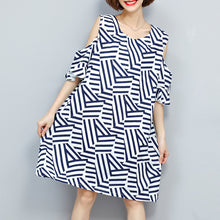Load image into Gallery viewer, baggy striped women dress trendy plus size traveling clothing 2018 o neck patchwork dress