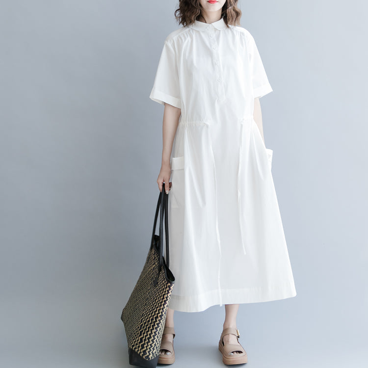 baggy white cotton blended dress oversize casual dress vintage short sleeve pockets Turn-down Collar baggy dresses cotton blended clothing dresses
