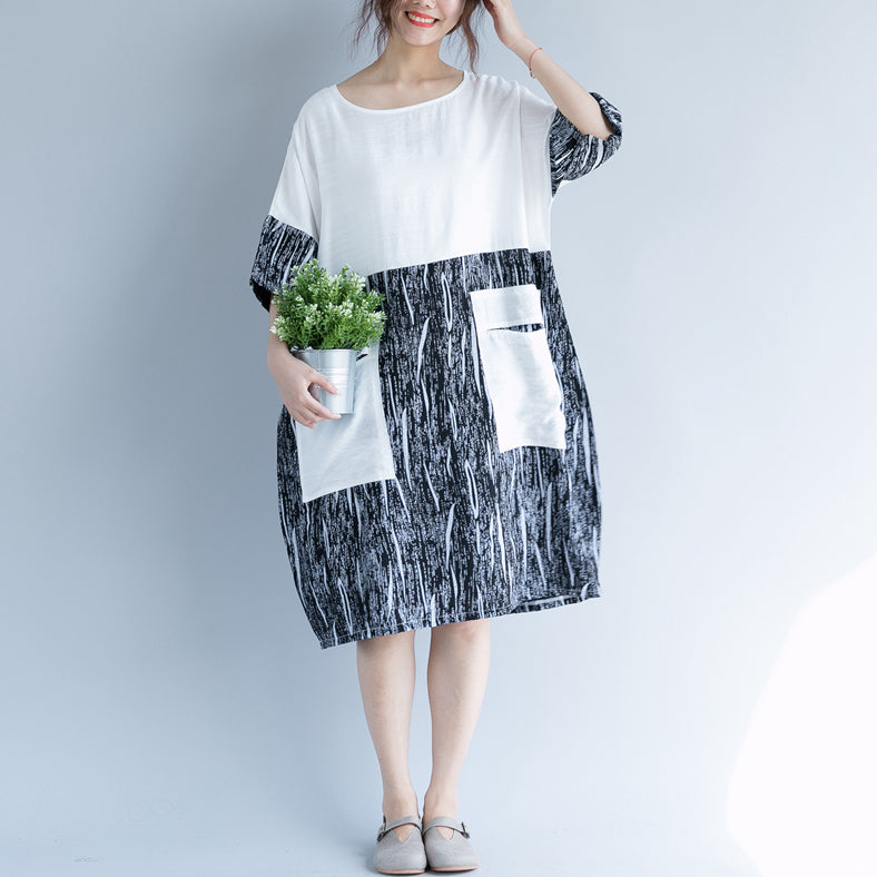 baggy white cotton shift dress oversize casual dress vintage patchwork o neck short sleeve cotton dress
