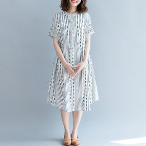 baggy white floral cotton shift dress oversized casual dress New short sleeve pockets Stand baggy dresses