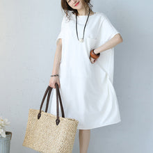 Load image into Gallery viewer, baggy white natural cotton dress oversized cotton clothing dress casual short sleeve o neck cotton dresses