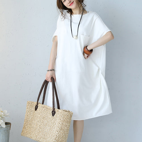 946c8b6ac34 baggy white natural cotton dress oversized cotton clothing dress casual  short sleeve o neck cotton dresses